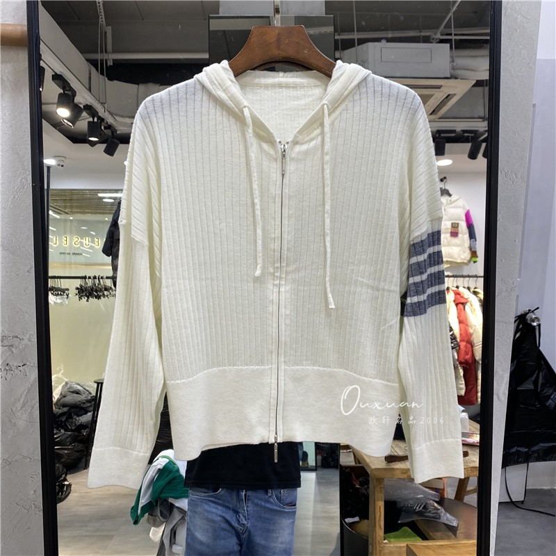2c021秋季新品 精品女装连帽拼条纹拉链羊毛针织开衫女士毛衣潮