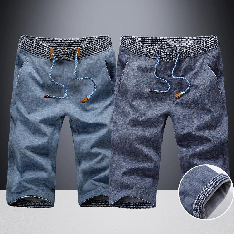 Shorts mens Capris summer thin sports casual jeans shorts mens Breeches ice silk tide beach underpants