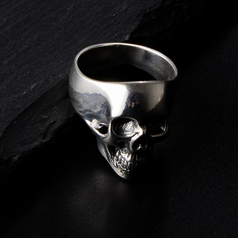 Silver 053368 closed ring European and American personality fashion skull rock decoration 925 silver s male