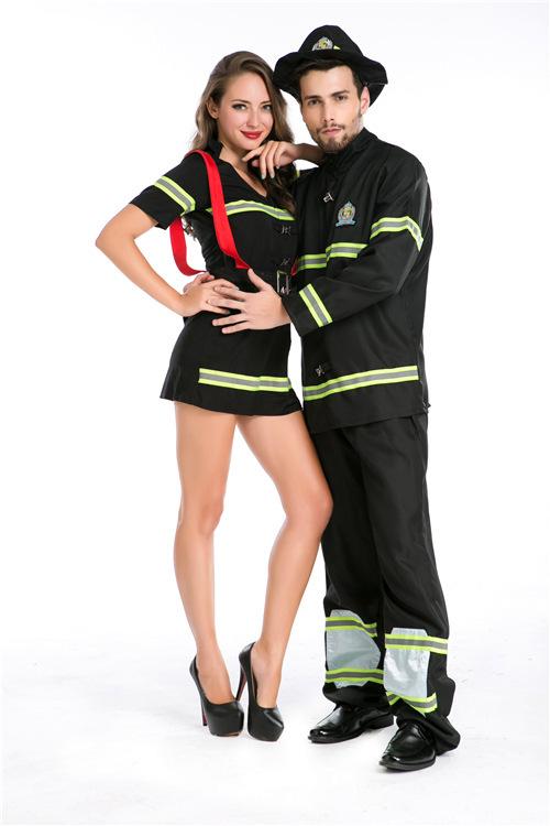 万圣节新款情侣服装角色扮演情侣消防员服装制服夜店游戏服