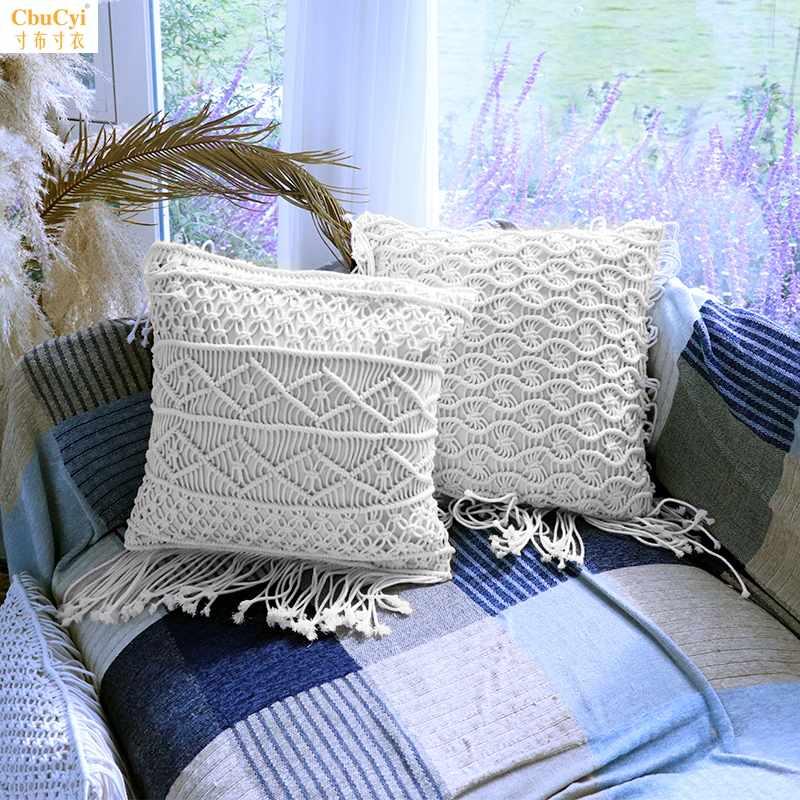 棉线棉绳手工编织流苏抱枕INS波西米亚靠枕 挂毯拍摄道具靠垫