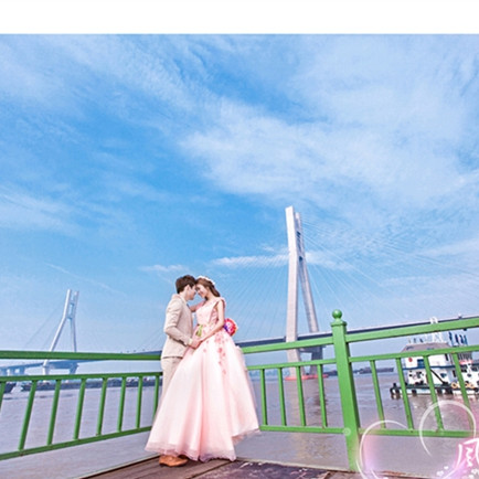 影楼主题服装2017上海展会新款外景拍照摄影粉色礼服齐地蕾丝婚纱