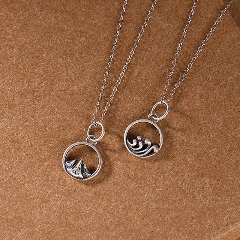 Simple and original design of pure silver necklace for students