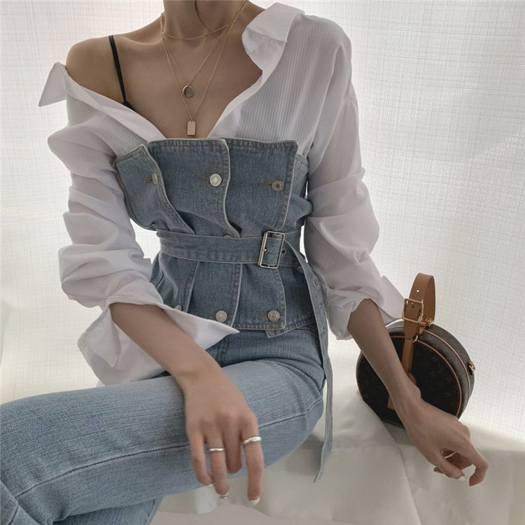 2019 summer sexy personality off shoulder bra with belt denim sleeveless vest bottoming chest wrapping top