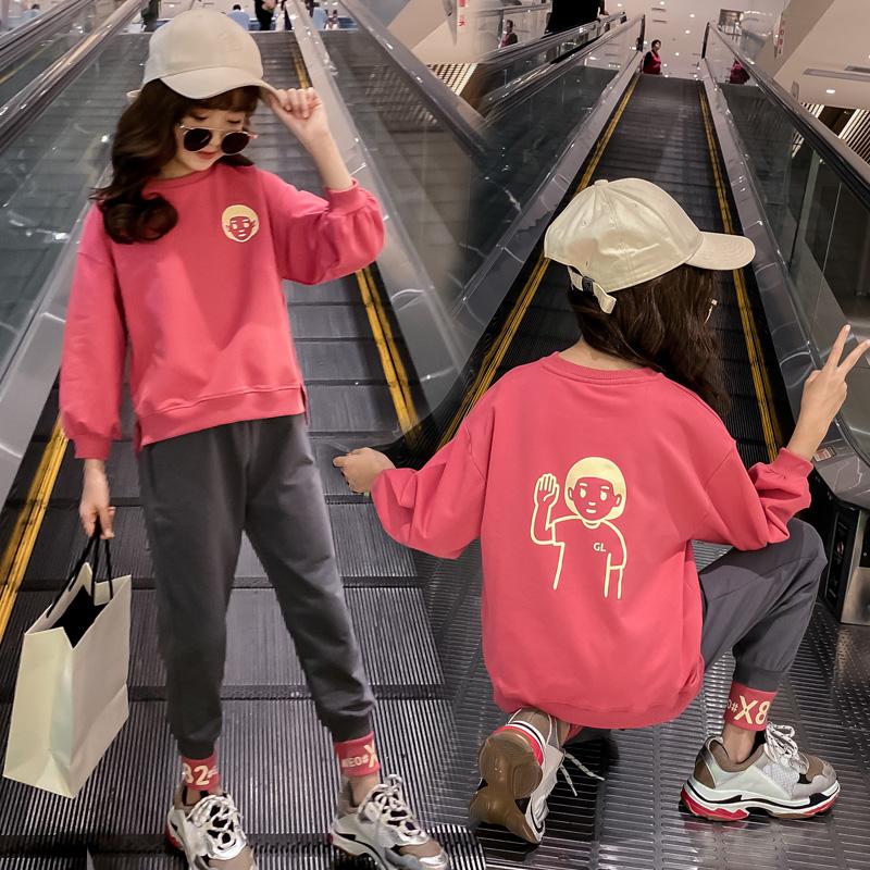 春季女童卫衣长裤洋气两件套110-160