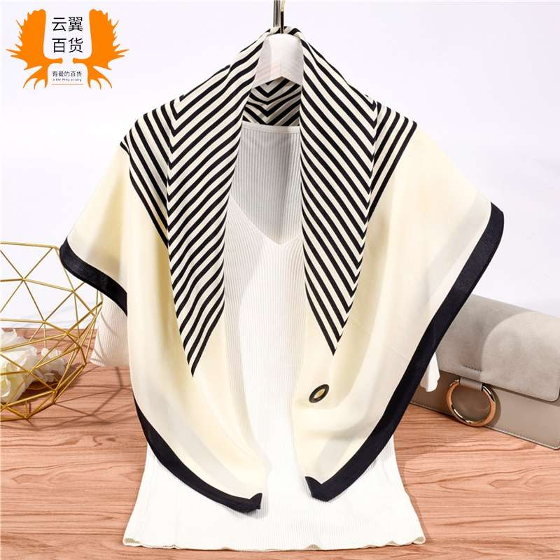 Black and white striped silk scarf small square scarf womens versatile spring and autumn thin shawl autumn decorative scarf summer skirt