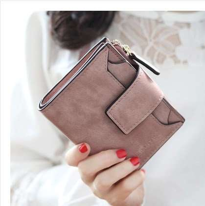 Card holder student short wallet 2019 new wallet womens short version simple buckle retro frosted