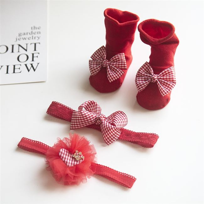 New Korean gift European and American gauze lovely princess butterfly knot childrens hair with socks baby set