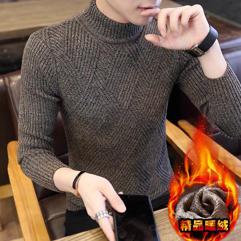 秋冬韩版修身半高领男士加厚针织衫