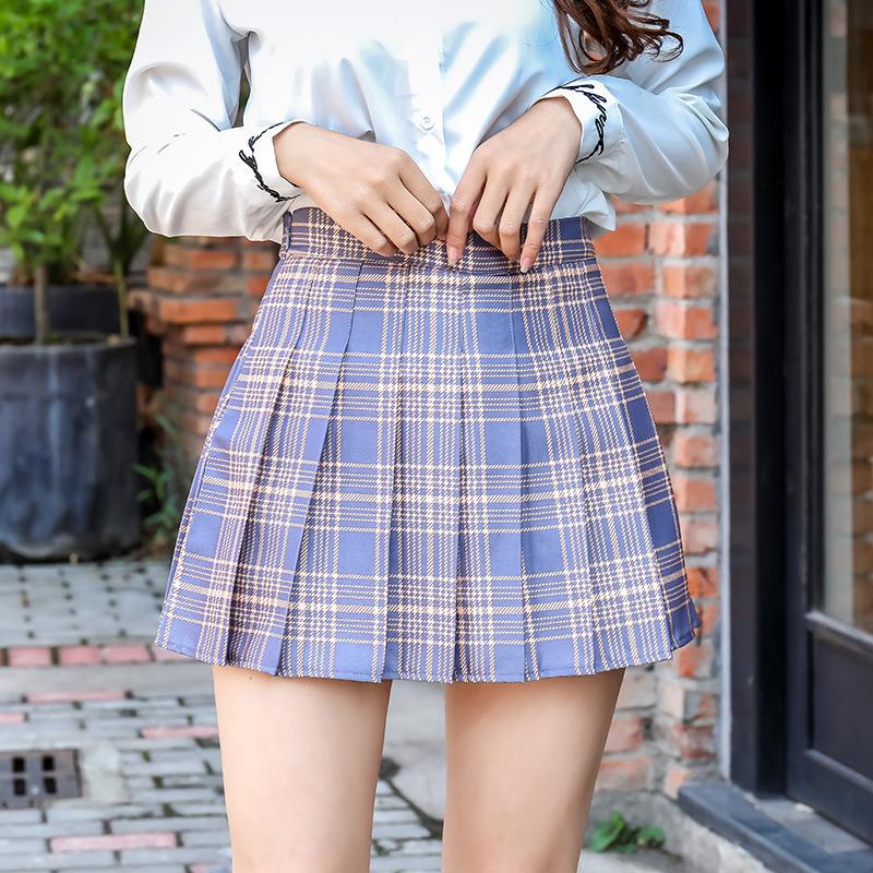 中國代購|中國批發-ibuy99|短裙|半身裙秋冬季2021新款韩版格子黑色裙子高腰格子短裙女学生百褶裙