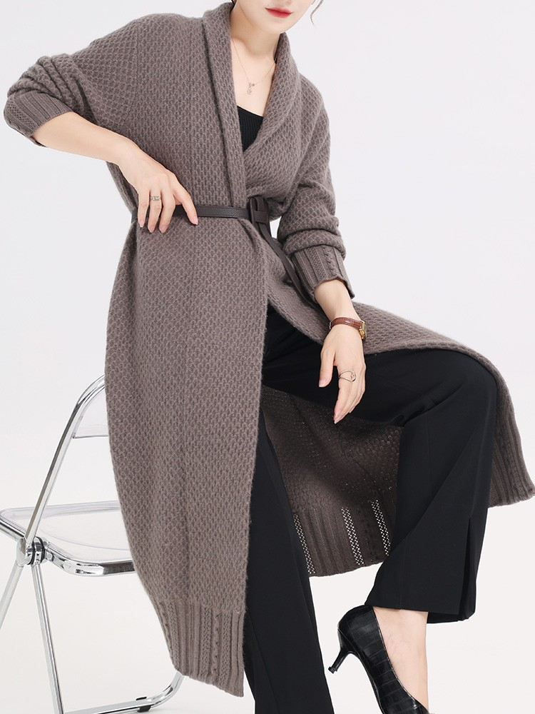 2021 autumn winter new mid length 100% pure cashmere sweater womens cardigan loose casual knitted sweater womens coat