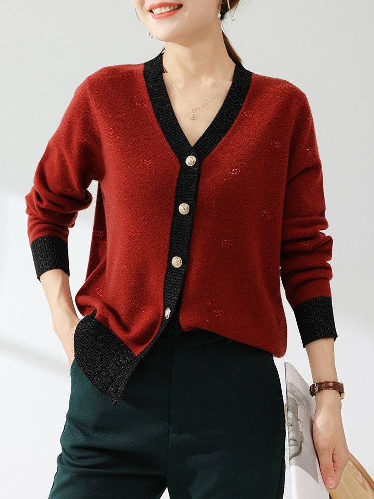 2021 autumn winter new V-neck cashmere sweater womens cardigan short long sleeve loose casual knitted sweater womens sweater