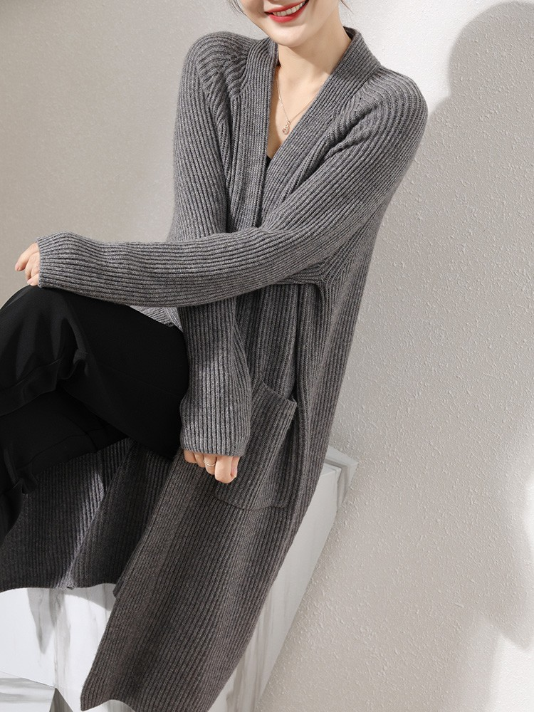 2021 autumn winter new thickened V-neck cashmere sweater womens cardigan loose leisure medium and long knitted sweater coat