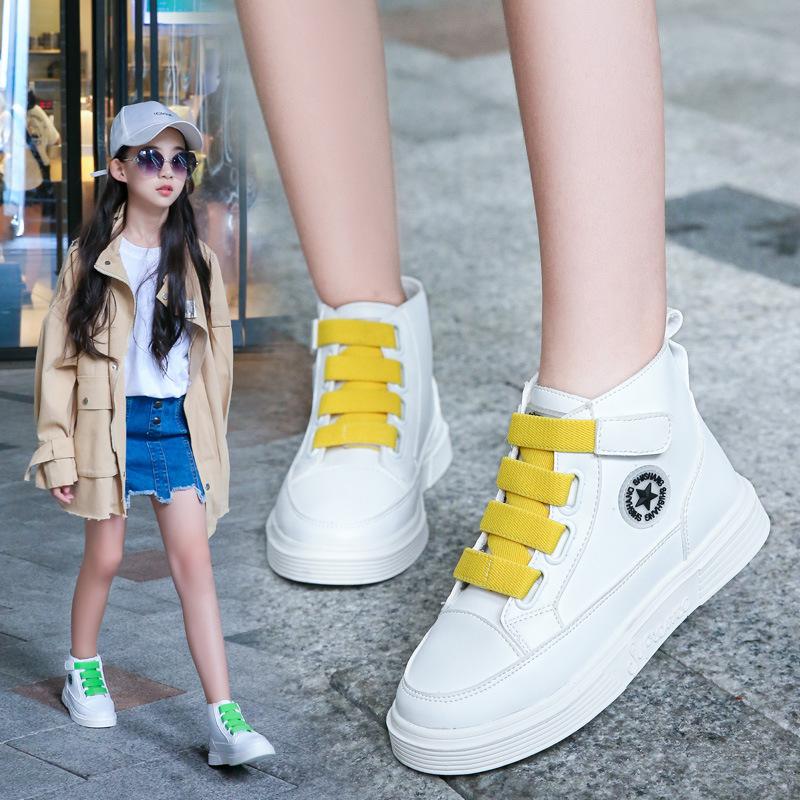 女童鞋子2020新款春秋季中大童儿童韩版小白鞋网红高帮运动鞋时尚