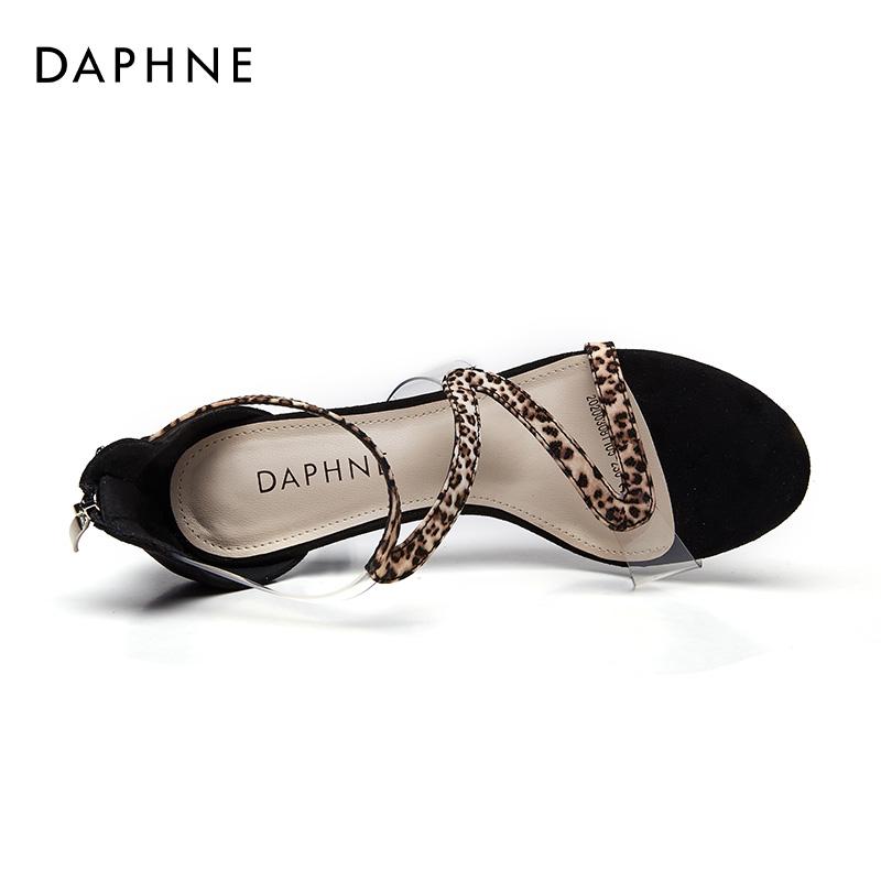 达芙妮罗马凉鞋女2020年夏新款百搭豹纹仙女风9cm细跟时尚高跟鞋