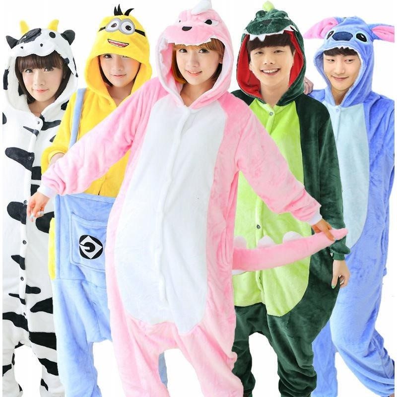 Animal cartoon pajamas female flannel autumn and winter conjoined pajamas couple Plush thick plus size home clothes set