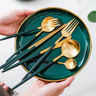 黄豆北欧304不锈钢刀叉勺筷ins风西餐餐具情侣三件套家用牛排刀叉品牌