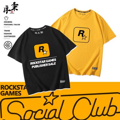 GTA5游戏公司Rockstar Games周边T恤R星标志纯棉短袖男青少年衣服