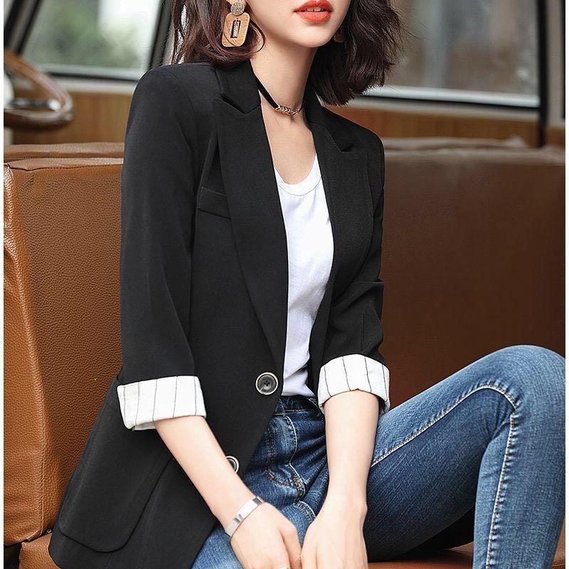 Two button medium length Blazer womens Three Quarter Sleeve Jacket slim Plaid suit large pocket wrinkle resistant and dirt resistant