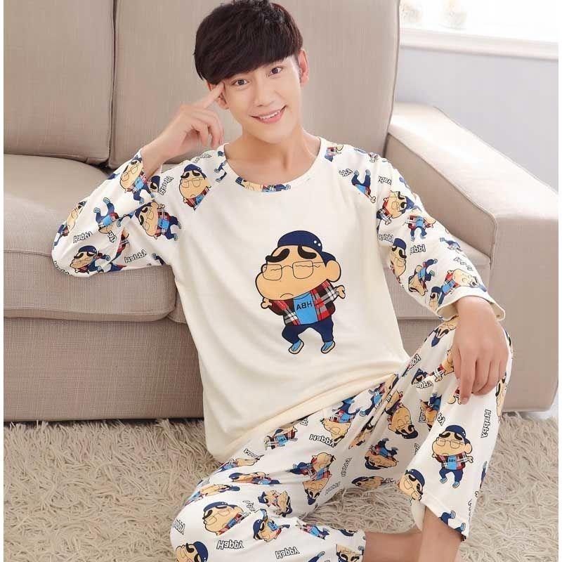 长袖睡衣男春秋季男士睡衣卡通加肥加大码青年学生大童家居服套装