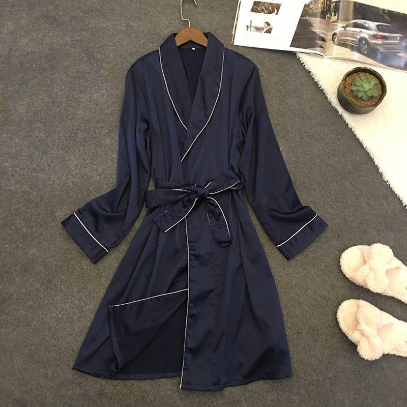 女士睡袍春秋季冰丝绸性感睡衣和服式系带中长款浴袍美容院专用薄