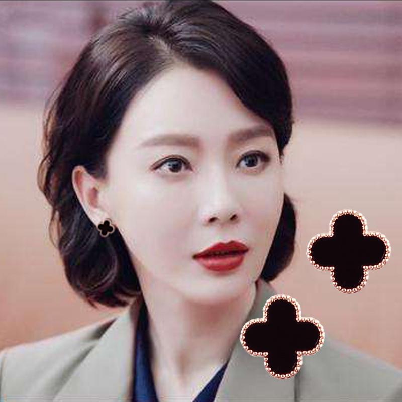 四叶草耳钉2020新款潮韩国网红耳饰女纯银防过敏迪丽热巴同款耳环图片