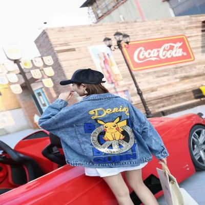 BF heavy industry Sequin pattern letter denim coat women spring autumn new European loose jacket short denim