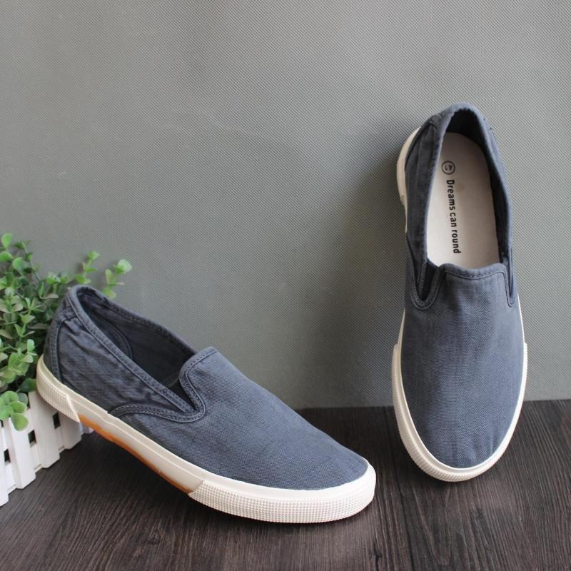 天天特价韩版新款流行男鞋帆布鞋男士一脚蹬懒人鞋水洗做旧黑灰色