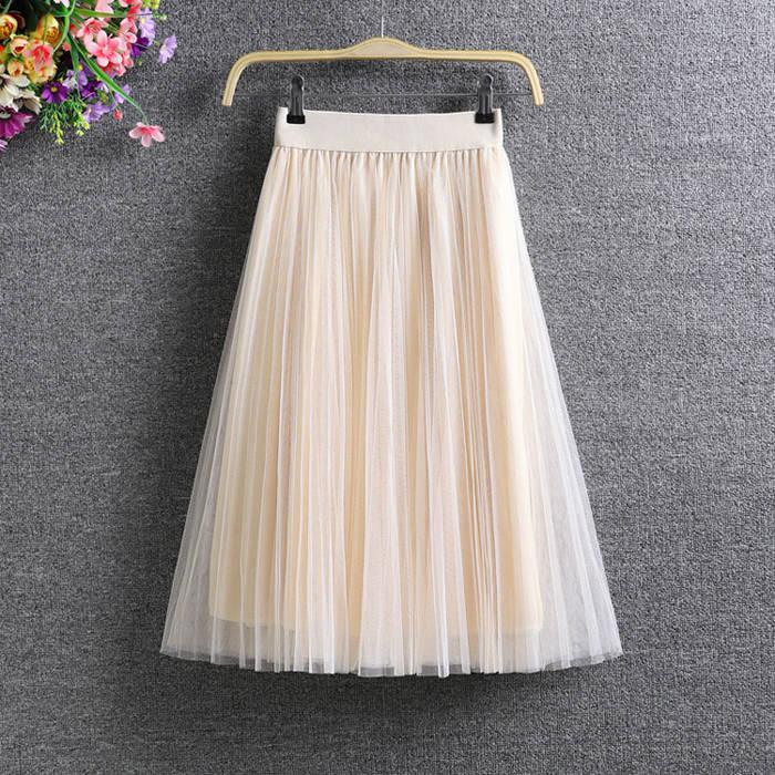 网纱裙子中长款大码显瘦百褶半身裙潮