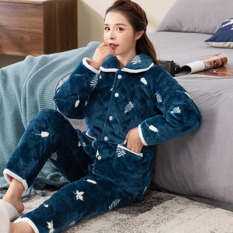 2020法兰绒三层夹棉睡衣女冬季加厚珊瑚绒卡通棉袄保暖家居服套装