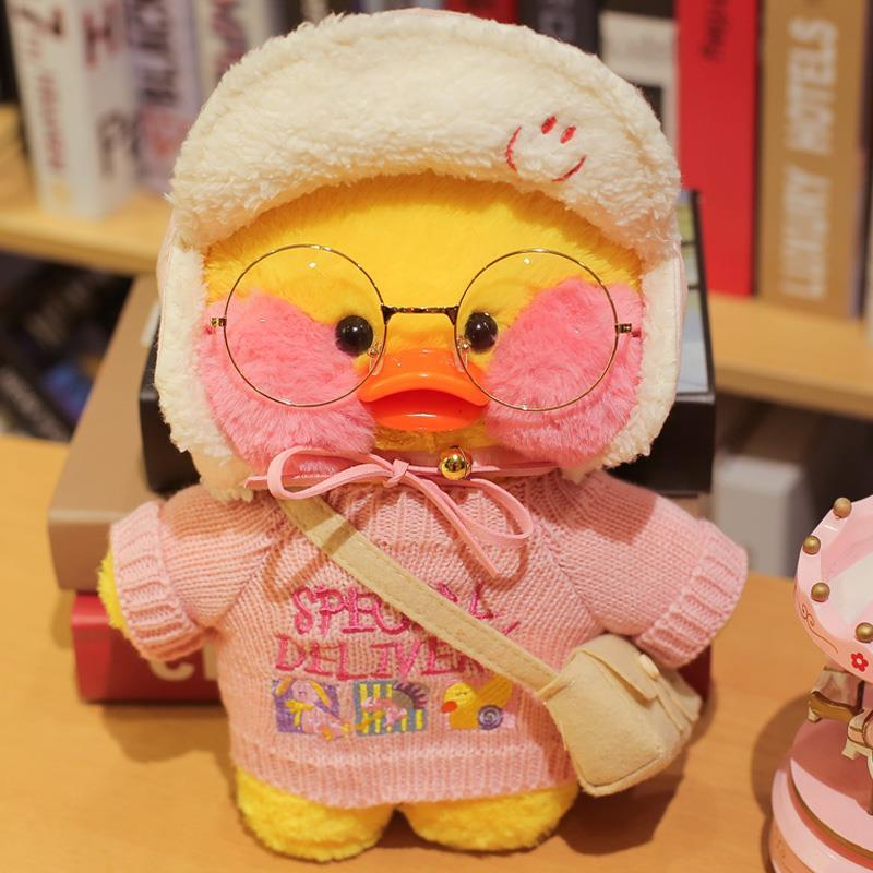 Ins net Red duck 30cm hyaluronic acid duck plush toy doll girl heart little yellow duck clothes bag accessories