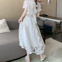 蝴蝶结绑带小心机镂空显瘦甜美法式小众白连衣裙超仙女森系韩版夏