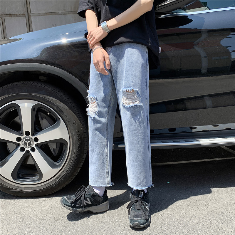 男新款港风精品牛仔裤破洞休闲女裤子714-3-x912-p50好