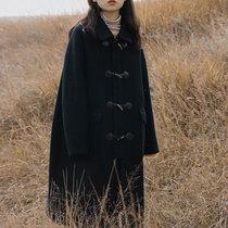 大码女装牛角扣毛呢外套秋冬装胖妹妹宽松显瘦中长款加厚呢子大衣