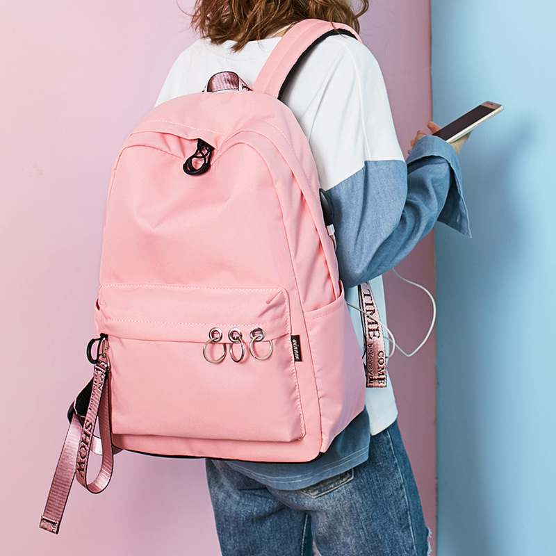 2020 new campus schoolbag female yuansuo ulzzang korean version versatile college backpack with charging