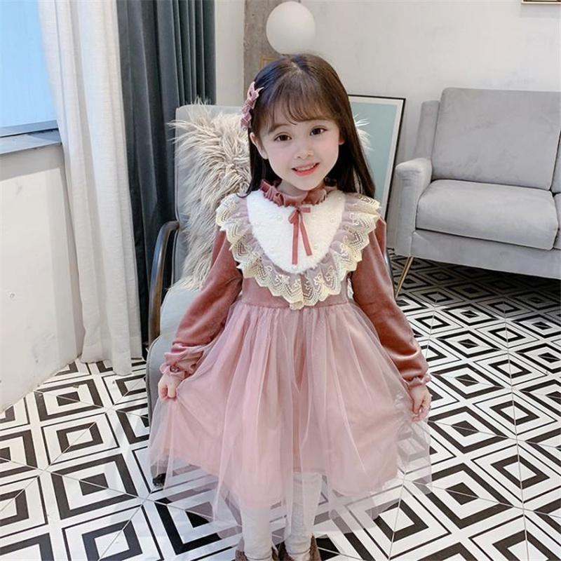 女童洛丽塔风丝绒连衣裙加绒加厚儿童公主裙宝宝纱裙宫廷过年裙子