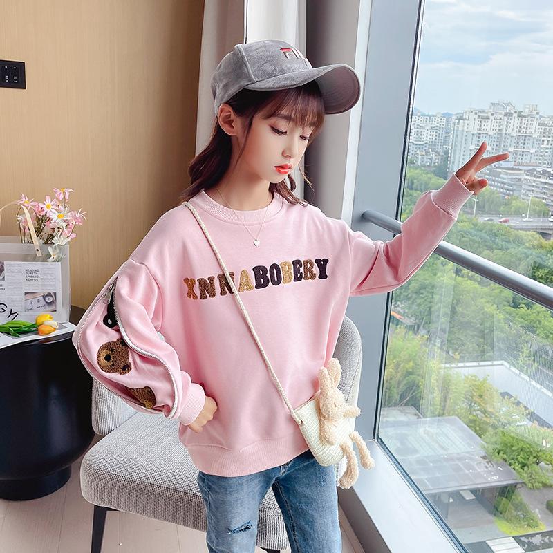 童装女童卫衣秋装2021新款韩版儿童长袖套头衫中大童休闲打底上衣