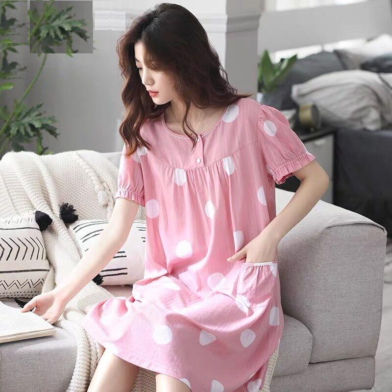 夏季睡裙女士短袖宽松大码韩版可爱家居服