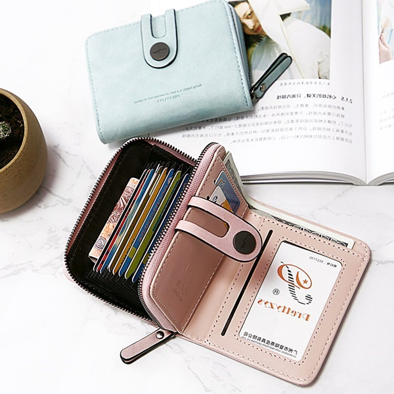 2019 new small wallet womens short student card bag Japan and South Korea multifunctional two fold small fresh change bag women
