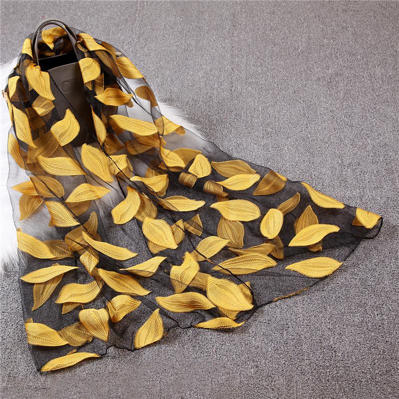 Organza leaf scarf travel sunscreen scarf decoration shawl neck thin cut silk scarf womens Headband