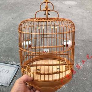 新清远广式雕花竹节小笼子芙蓉金青鸟笼竹笼竹笼绣眼笼配件广笼波