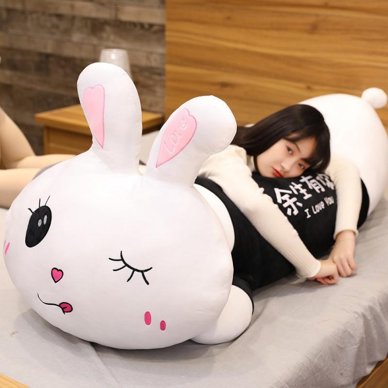 粉色趴趴兔子毛绒玩具超软抱枕大号床上睡觉抱枕可爱超萌公仔女孩