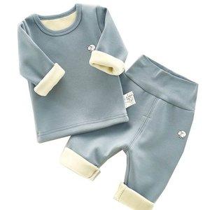 加厚宝宝女孩儿童保暖内衣单件上衣圆领婴童分体冬装高腰清新棉衣