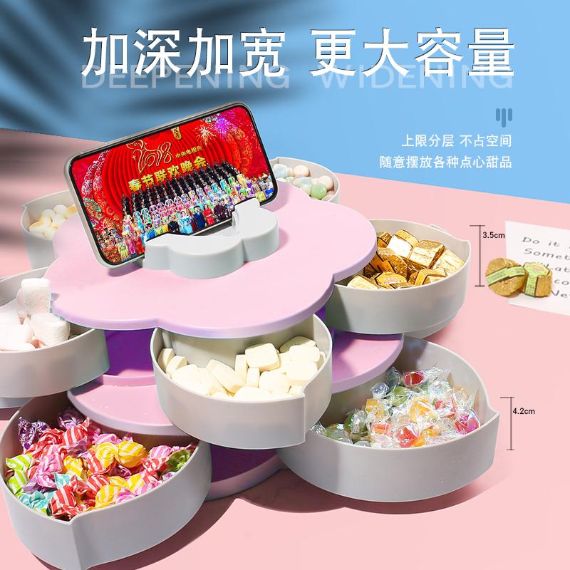 旋转糖果盒客厅家用过年干果收纳新年零食盘花样双层水果盘糖果盘