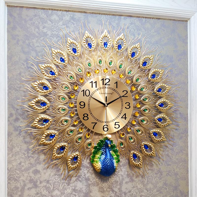 钟表孔雀挂钟客厅家用时尚欧式大挂表墙壁装饰时钟创意静音石英钟