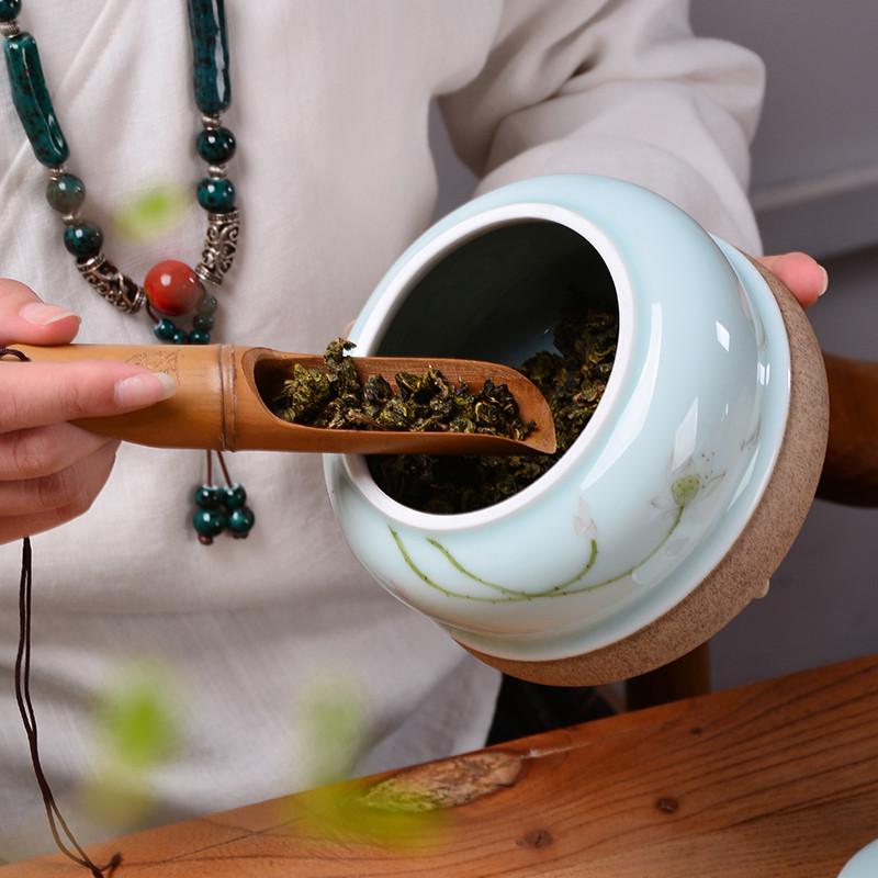 手绘茶叶罐陶瓷大号茶叶罐普洱茶叶盒小青柑密封存储罐