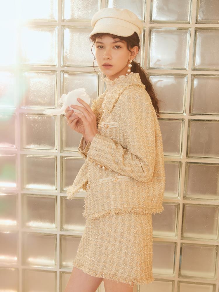 MOFAN2021春装新款甜美优雅小香风上衣女粗花呢休闲外套百搭 米色