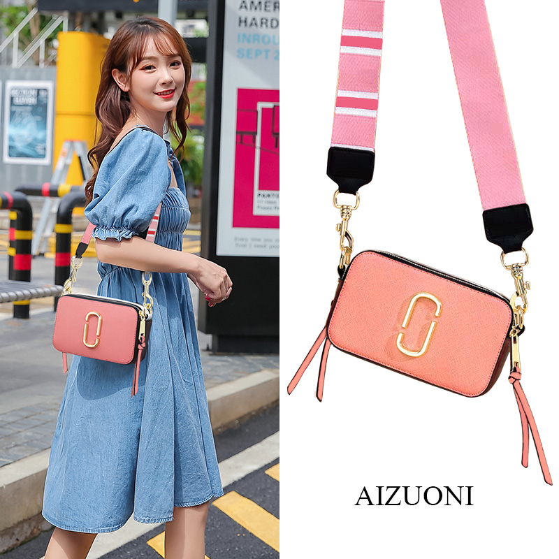 Bag 2020 new fashion summer messenger womens bag net red versatile Leather Camera mini wide shoulder strap single shoulder small square bag