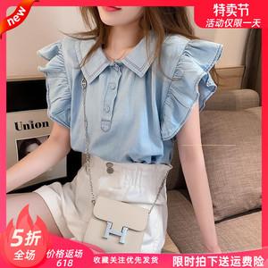 蓝色设计感衬衫女韩版2020夏季新款娃娃领洋气小清新飞飞袖衬衣图片