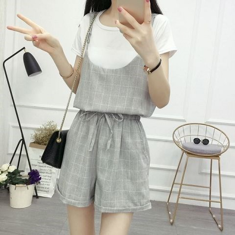 Bottom coat, suspender, high waist, one-piece belt, pants, two-piece suit, womens spring and summer